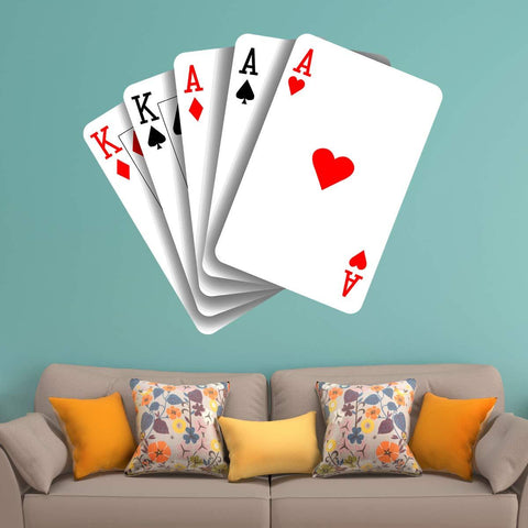 VWAQ Poker Playing Cards Wall Decal - Casino Gambling Sticker Decor - HOL13 - VWAQ Vinyl Wall Art Quotes and Prints