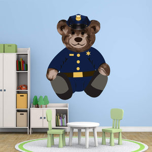 VWAQ Police Cop Teddy Bear Wall Decal - Kids Room Sticker Decorations - TEB3