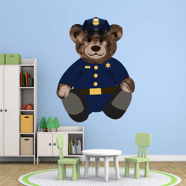 VWAQ Police Cop Teddy Bear Wall Decal - Kids Room Sticker Decorations - TEB3 - VWAQ Vinyl Wall Art Quotes and Prints