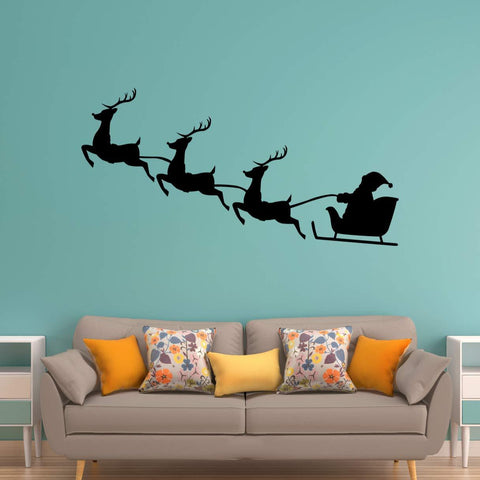 VWAQ Santa Claus Wall Decal Reindeer Christmas Holiday Vinyl Sticker - VWAQ Vinyl Wall Art Quotes and Prints