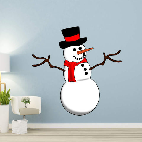 VWAQ Snowman Wall Decal Christmas Holiday Decorations Xmas Vinyl Sticker - HOL3 - VWAQ Vinyl Wall Art Quotes and Prints