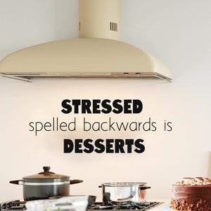 VWAQ Stressed Spelled Backwards is Desserts Wall Decal Cute Kitchen Quotes Decor - VWAQ Vinyl Wall Art Quotes and Prints