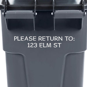 VWAQ Trash Decal Address Numbers Personalized Street Garbage Bin Stickers Please Return to - TC9 - VWAQ Vinyl Wall Art Quotes and Prints