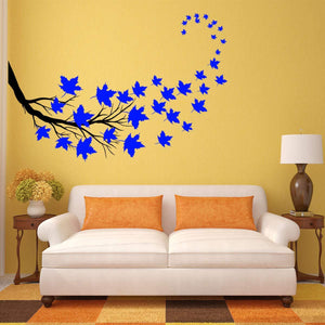 VWAQ Tree Branch Leaves Wall Sticker - Living Room Decal Decor - 37 PCS