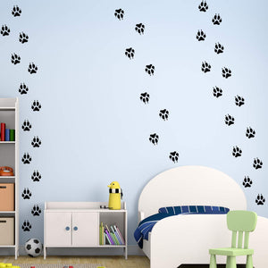 VWAQ Wolf Footprints Wall Decals - Peel and Stick Dog Floor Decals - 36 PCS