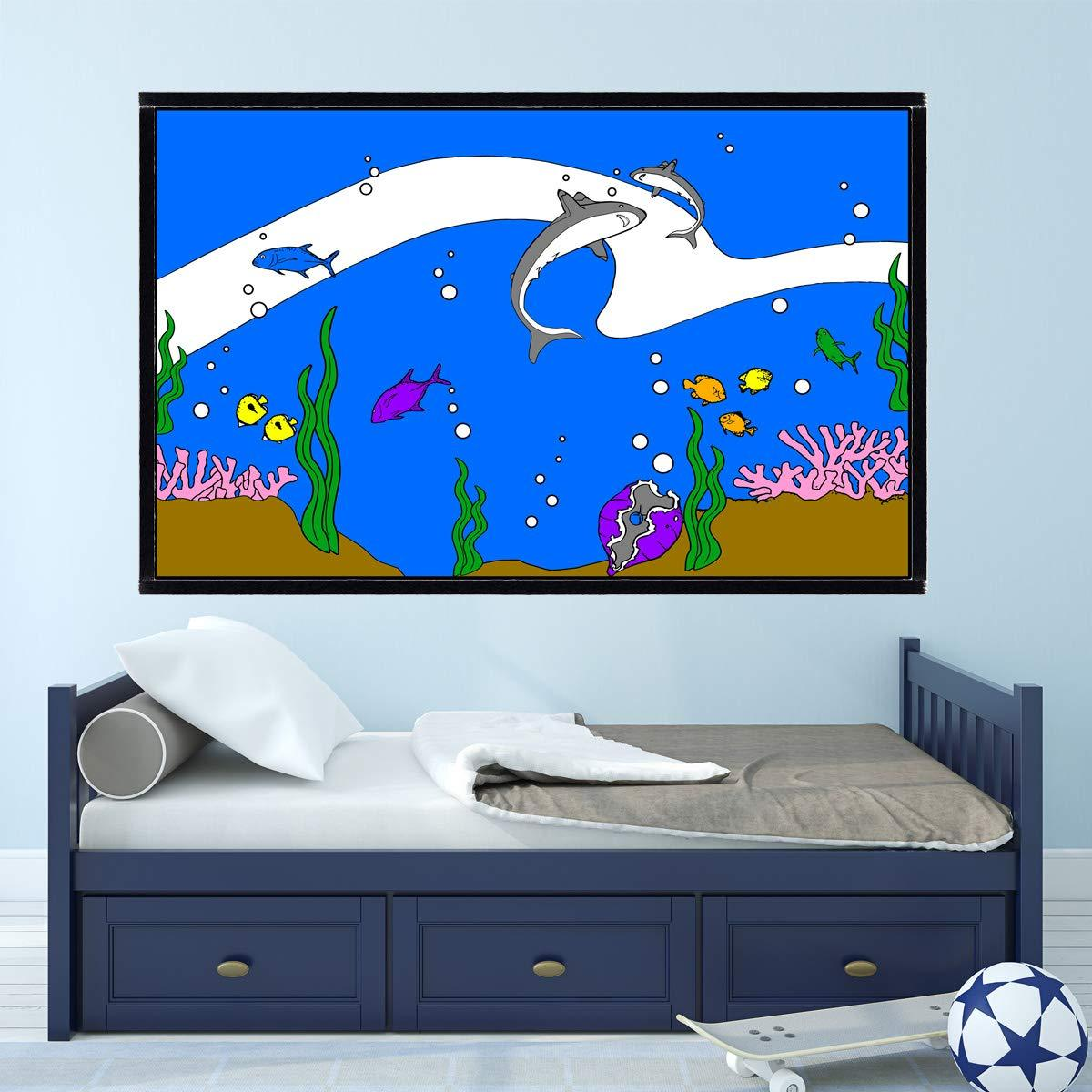 VWAQ Coloring Wall Prints - Ocean Sea Life Dry Erase Whiteboard Decal with Markers - DRV10