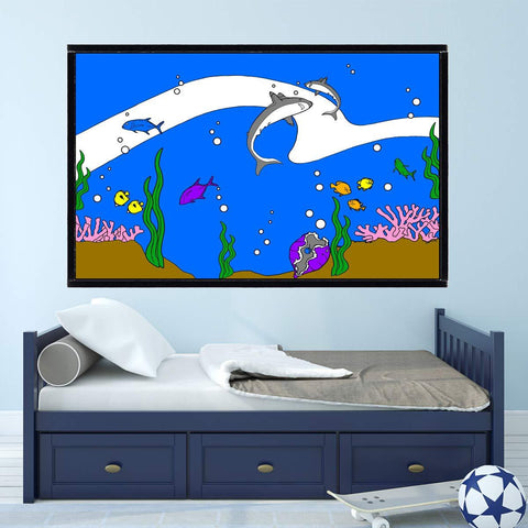VWAQ Coloring Wall Prints - Ocean Sea Life Dry Erase Whiteboard Decal with Markers - DRV10 - VWAQ Vinyl Wall Art Quotes and Prints
