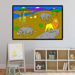 VWAQ Coloring Wall Prints - African Safari Dry Erase Whiteboard Decal with Markers - DRV9 - VWAQ Vinyl Wall Art Quotes and Prints