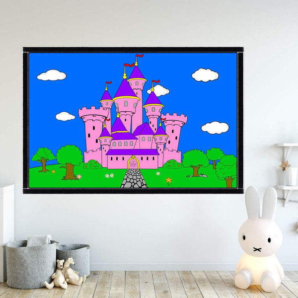 VWAQ Coloring Wall Prints - Princess Castle Dry Erase Whiteboard Decal with Markers - DRV8