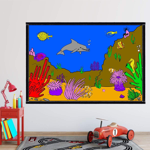 VWAQ Coloring Wall Prints - Ocean Coral Reef Dry Erase Whiteboard Decal with Markers - DRV7 - VWAQ Vinyl Wall Art Quotes and Prints
