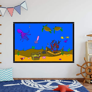 VWAQ Coloring Wall Prints - Underwater Ocean Dry Erase Whiteboard Decal with Markers - DRV6 - VWAQ Vinyl Wall Art Quotes and Prints