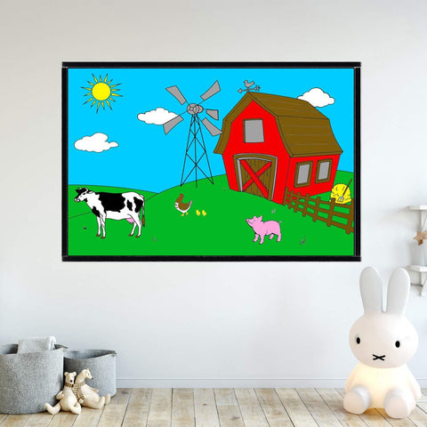 VWAQ Coloring Wall Prints - Farm Animals Dry Erase Whiteboard Wall Decal - DRV4