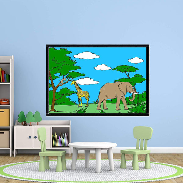 VWAQ Coloring Wall Prints - Safari Animals Jungle Dry Erase Whiteboard Wall Decal - DRV3