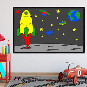 VWAQ Coloring Wall Prints - Outer Space Dry Erase Whiteboard Wall Decal - DRV2
