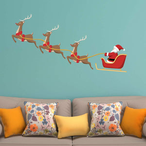 VWAQ Santa Claus Reindeer Christmas Holiday Wall Decal Sticker - HOL1