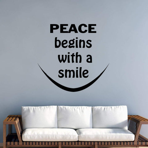VWAQ Peace Begins with a Smile Wall Decal - Mother Teresa Inspirational Quote - VWAQ Vinyl Wall Art Quotes and Prints