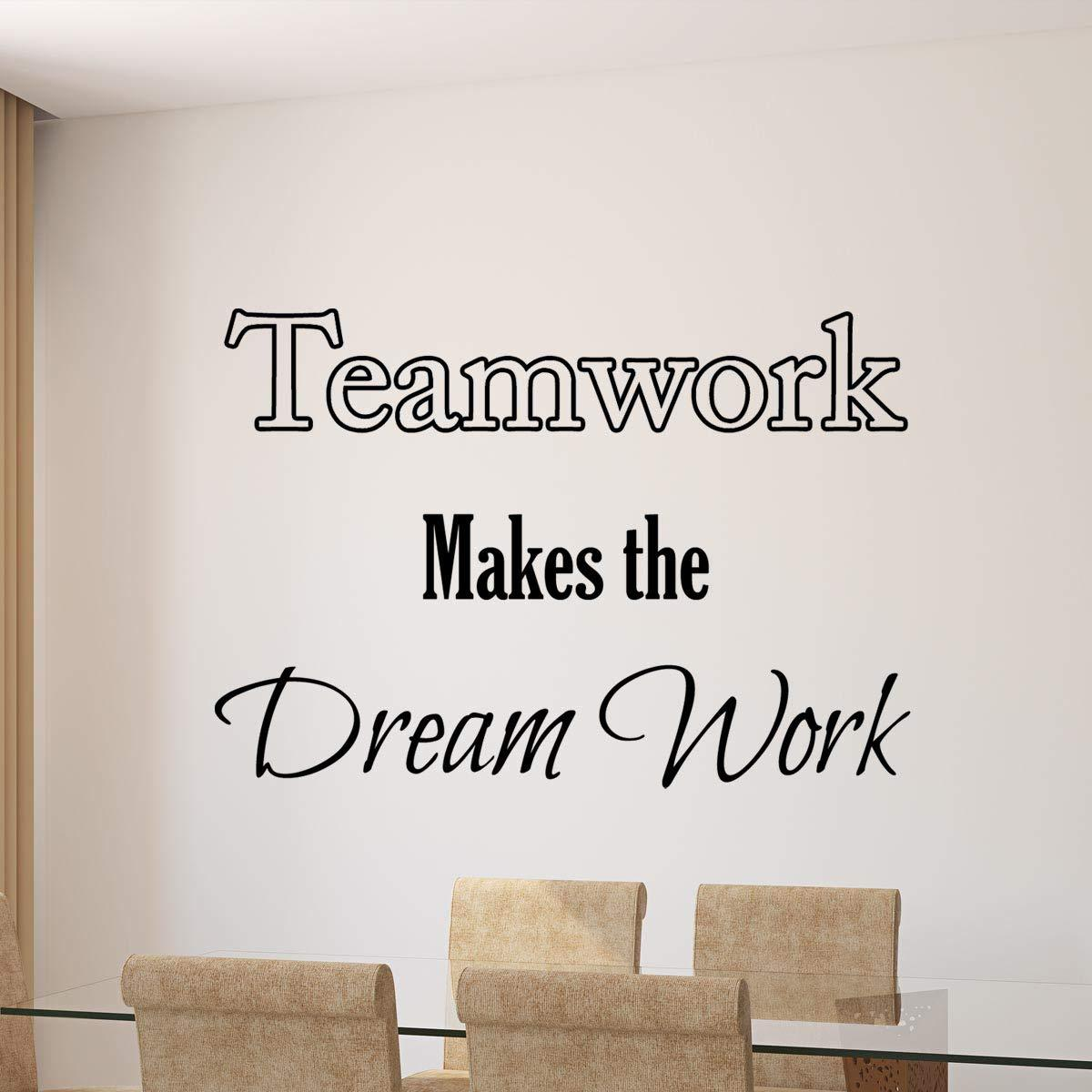 """VWAQ Teamwork Makes The Dreamwork Quote Vinyl Decal Home and Office Wall Decor - 14"""" H X 22&quo"""