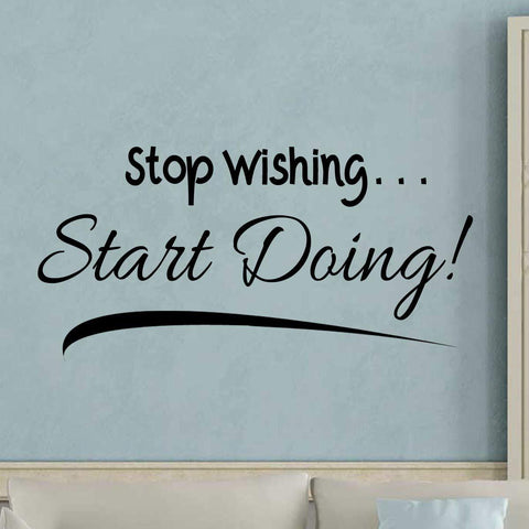 VWAQ Stop Wishing Start Doing Wall Decal Motivational Achievement Quotes Decor