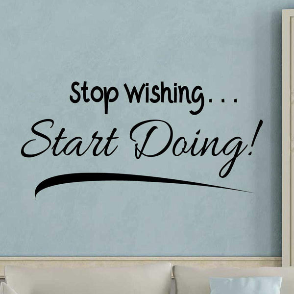 VWAQ Stop Wishing Start Doing Wall Decal Motivational Achievement Quotes Decor - VWAQ Vinyl Wall Art Quotes and Prints