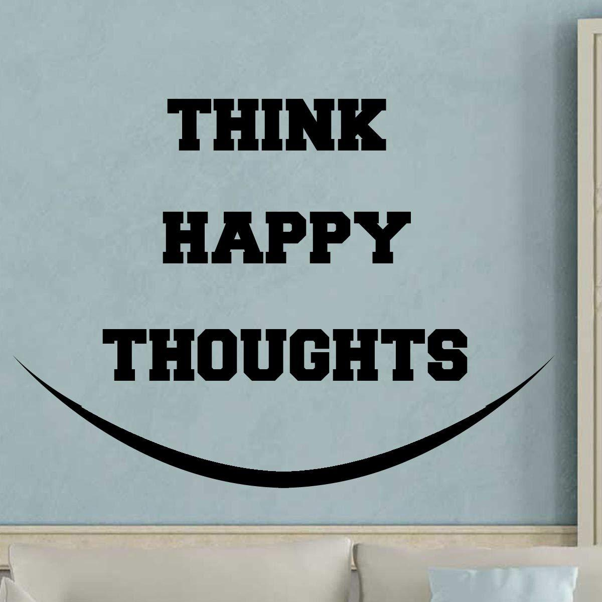 VWAQ Think Happy Thoughts Wall Decal - Happiness Quotes Sayings - VWAQ Vinyl Wall Art Quotes and Prints