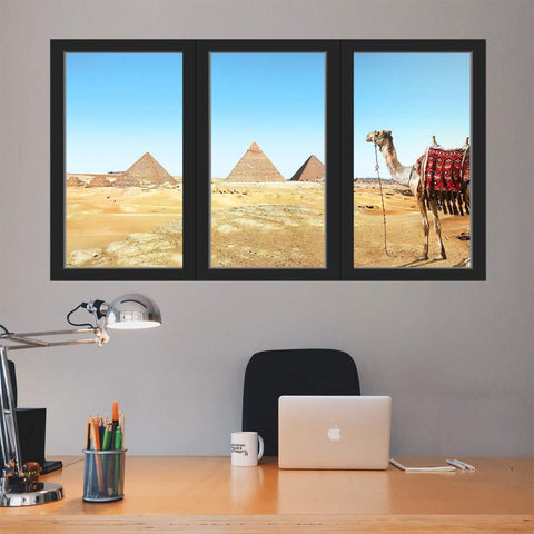 VWAQ - Egyptian Pyramid Wall Mural Desert Window Decal Peel and Stick - OW10