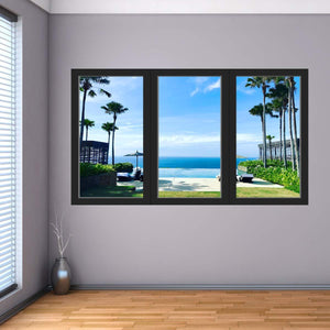 VWAQ - Tropical Beach Vacation Wall Decal 3D Ocean Window View Sticker - OW09