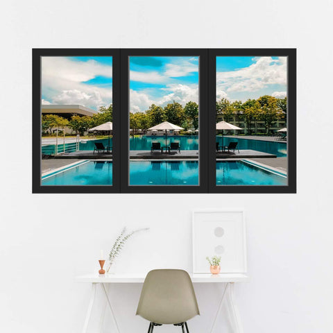 VWAQ - Vacation Wall Decal 3D Window View Office Nature Sticker Decor - OW08