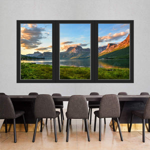VWAQ - Landscape Window Wall Decal Office Vacation Nature Vinyl Mural Decor - OW07