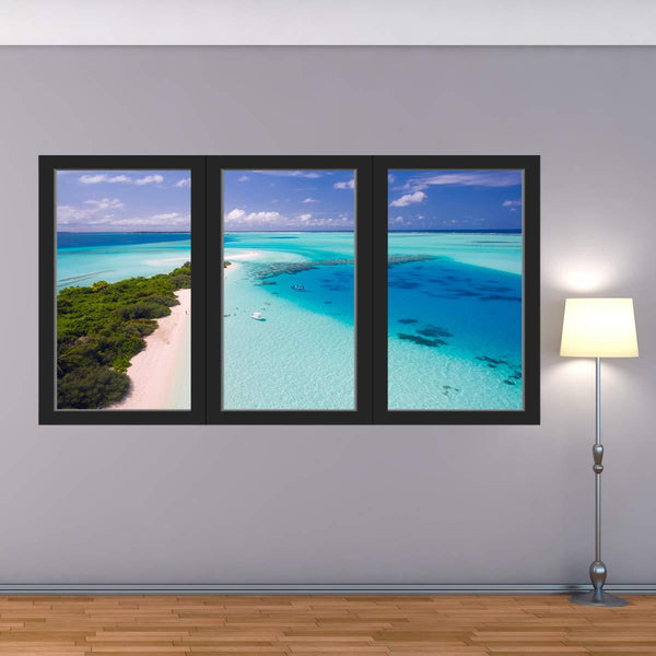 VWAQ - Vacation Resort Wall Decal Office Ocean Mural Sticker 3D Window View - OW05