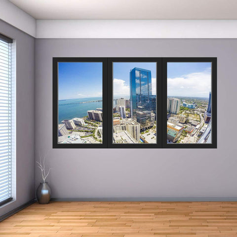 VWAQ - Ocean City View Wall Decal Office Window Cling Vinyl Sticker - OW03