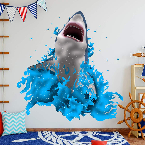 VWAQ Breaching Great White Shark Wall Decal Kids Room Stickers - NA08 - VWAQ Vinyl Wall Art Quotes and Prints