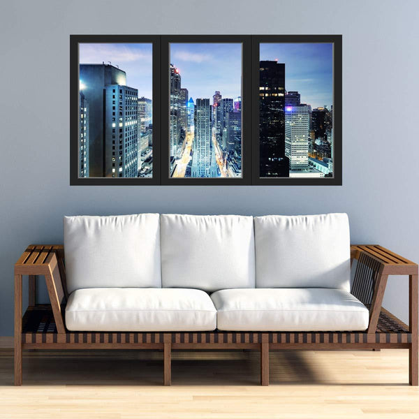 VWAQ - Office Window Decal City Skyline Wall Sticker Removable Reusable Peel and Stick Mural - OW01