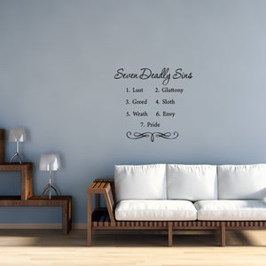 VWAQ Seven Deadly Sins Bible Vinyl Wall art Decal