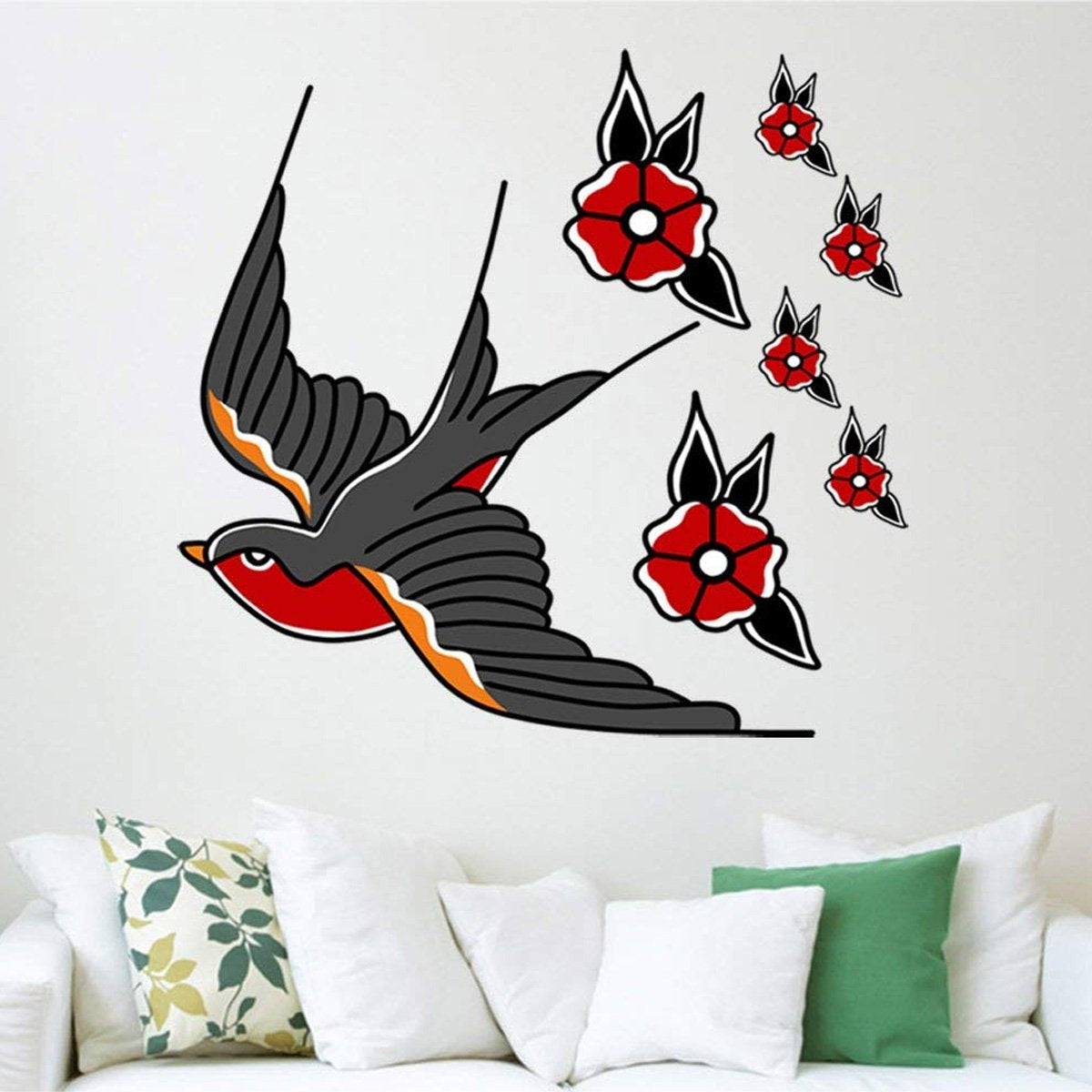 VWAQ Swallow Tattoo Wall Decor Peel and Stick Bird Decals American Traditional Style - AT3