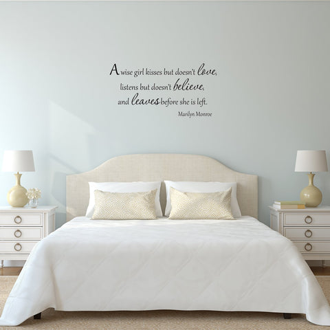 A Wise Girl Kisses But Doesn't Love Marilyn Monroe Decal Wall Quotes - VWAQ Vinyl Wall Art Quotes and Prints