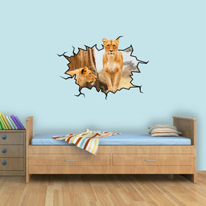 African Lioness Wall Crack 3D Safari Vinyl Wall Decal - WC14 - VWAQ Vinyl Wall Art Quotes and Prints