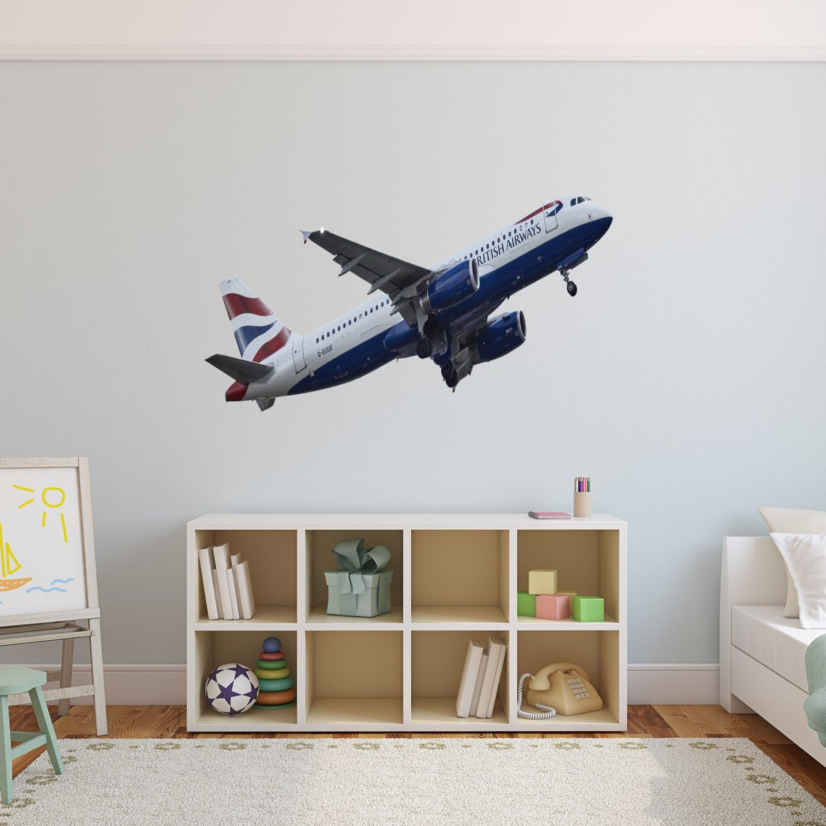 Airplane during takeoff decal
