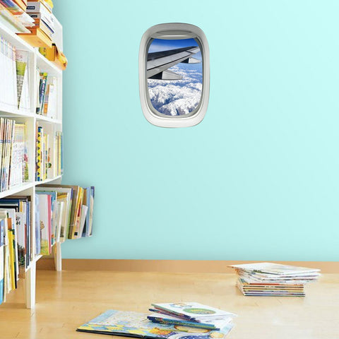 VWAQ Peel and Stick Airplane Window Cloudy Wing View Vinyl Wall Decal - A03 - VWAQ Vinyl Wall Art Quotes and Prints