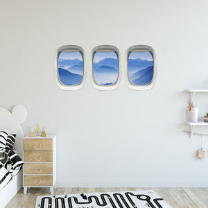 VWAQ Pack of 3 Airplane Window Mountain View Peel and Stick Vinyl Wall Decals - PPW4 - VWAQ Vinyl Wall Art Quotes and Prints
