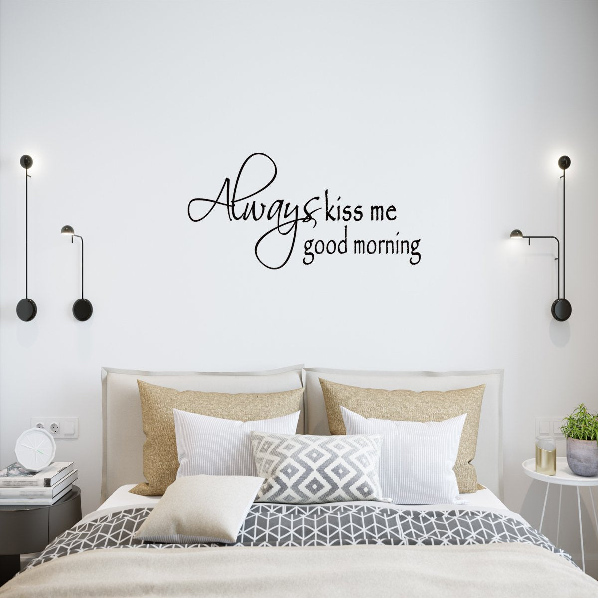VWAQ Always Kiss Me Good Morning Love Wall Quotes Decals - VWAQ Vinyl Wall Art Quotes and Prints
