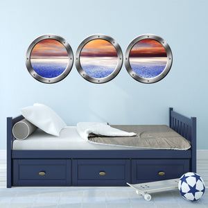 VWAQ Pack of 3 Peel and Stick Ocean View Boat Bronze Porthole Vinyl Wall Decals - VWAQ Vinyl Wall Art Quotes and Prints