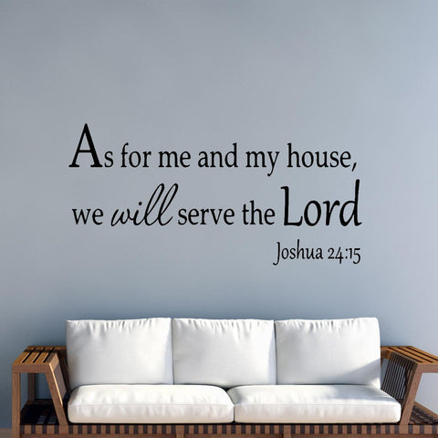 VWAQ As for Me and My House We Will Serve the Lord Faith Wall Quotes Decals - VWAQ Vinyl Wall Art Quotes and Prints