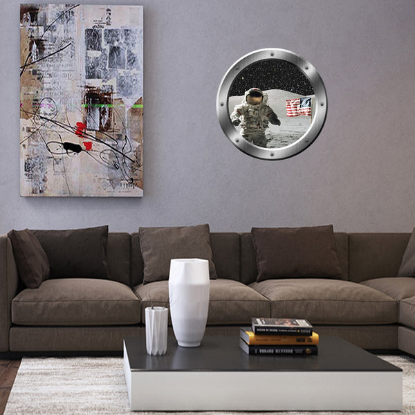 VWAQ Astronaut Moon Peel and Stick Space Porthole Vinyl Wall Decal - PS2 - VWAQ Vinyl Wall Art Quotes and Prints