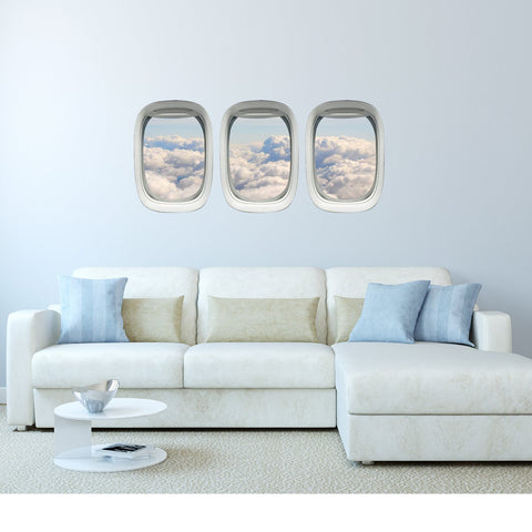 VWAQ Pack of 3 Peel and Stick Cloud View Airplane Window Vinyl Wall Decal - PPW13 - VWAQ Vinyl Wall Art Quotes and Prints