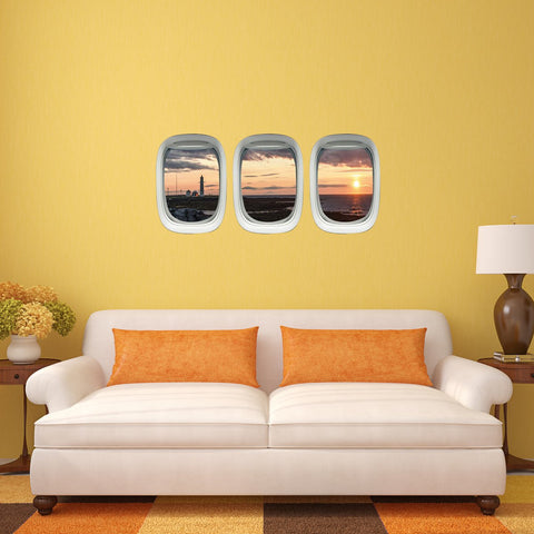 VWAQ Pack of 3 Airplane Window Lighthouse View Peel and Stick Vinyl Wall Decal - PPW16 - VWAQ Vinyl Wall Art Quotes and Prints