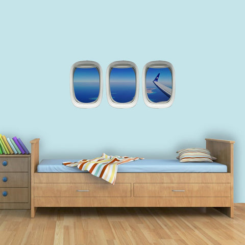 VWAQ Pack of 3 Airplane Window Ocean Wing View Peel n Stick Vinyl Wall Decals - PPW29 - VWAQ Vinyl Wall Art Quotes and Prints