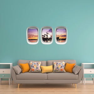 VWAQ Pack of 3 Airplane Window Sydney Opera House View Peel and Stick Wall Decals - PPW24 - VWAQ Vinyl Wall Art Quotes and Prints
