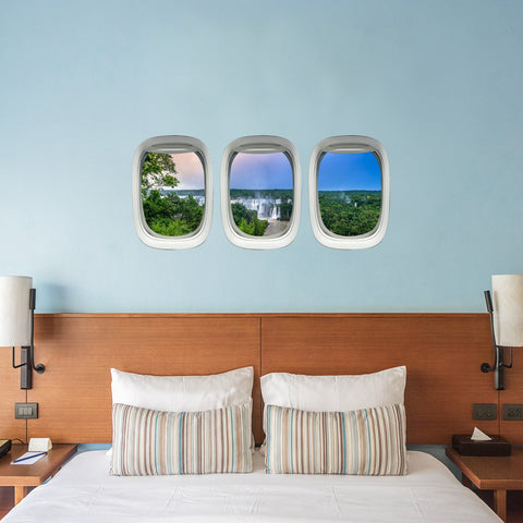 VWAQ Pack of 3 Airplane Window Waterfall View Peel and Stick Vinyl Wall Decals - PPW30 - VWAQ Vinyl Wall Art Quotes and Prints