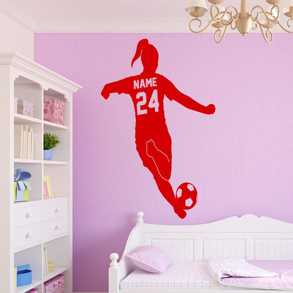 VWAQ Custom Name Girls Soccer Player Wall Decal with Personalized Name and Soccer Ball - TTC20 - VWAQ Vinyl Wall Art Quotes and Prints
