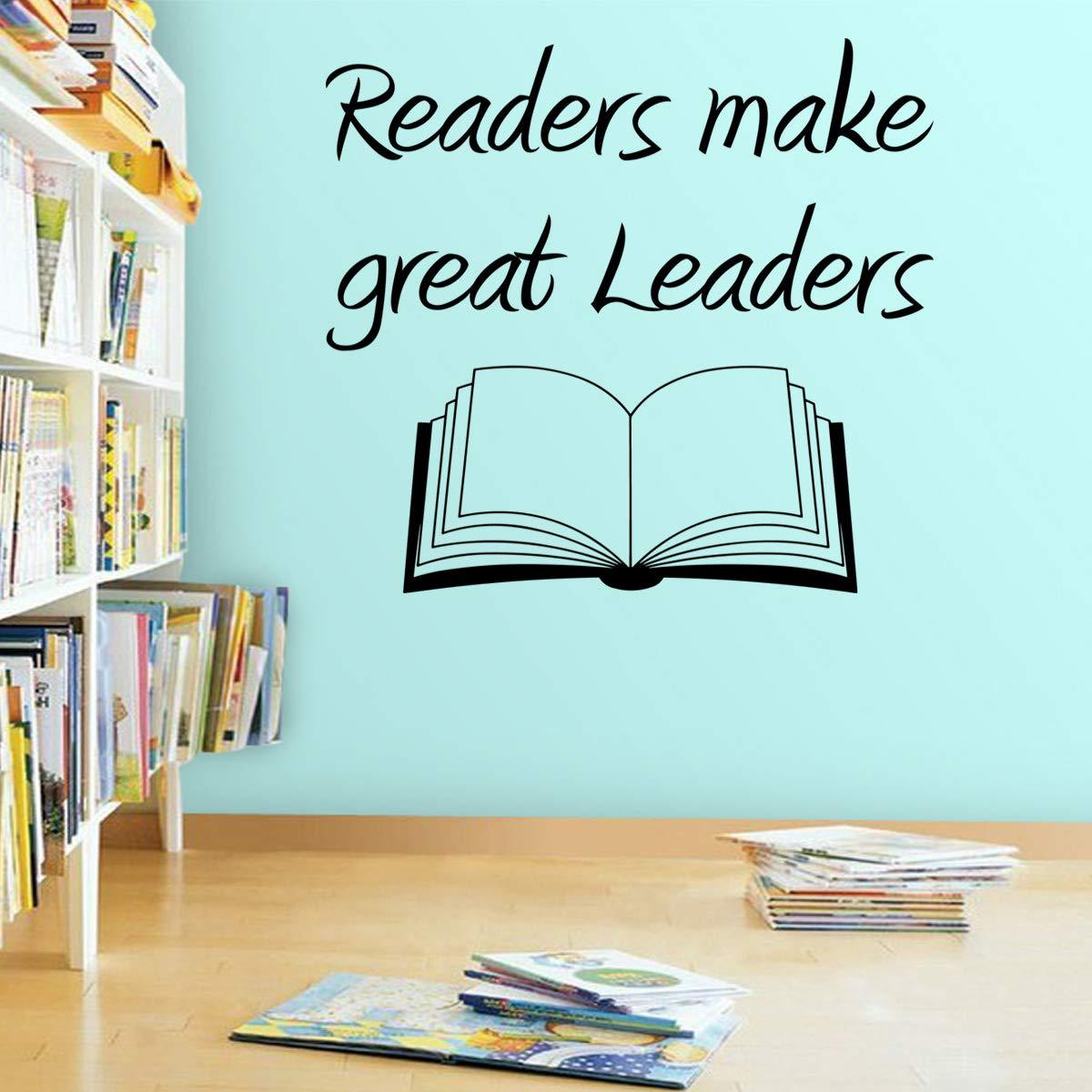VWAQ Readers Make Great Leaders Wall Decal - Teachers Classroom Learning Decor - VWAQ Vinyl Wall Art Quotes and Prints